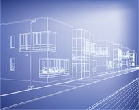 Wireframe building over blueprint Royalty Free Stock Photo
