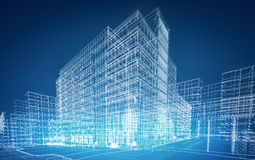 Wireframe buildings Royalty Free Stock Photos