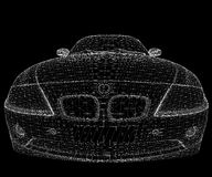 Wireframe car. A white wireframe car isolated on black background Royalty Free Stock Images