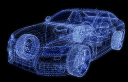 Wireframe of a car 3d model. Glowing wireframe of a car 3d Stock Illustration