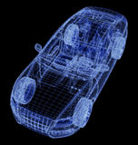 Wireframe of a car 3d model. Glowing wireframe of a car 3d Royalty Free Illustration