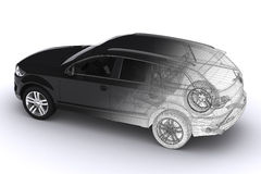 Wireframe Car Royalty Free Stock Photos