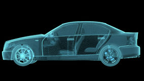 Wireframe Car Hologram Wireframe. Turntable rotating stock video footage
