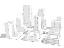 Wireframe City. Wireframe rendering of nine city blocks with various building styles and a few vehicles Royalty Free Stock Photography