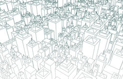 Wireframe City. With Buildings and Blueprint Design Art