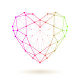 Wireframe Colorful Heart. Royalty Free Stock Image