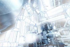 Wireframe computer cad design concept image. industrial piping i. N the factory combined with drawing, smart plant solution idea stock photos