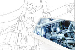 Wireframe computer cad design of pipelines. For modern industrial power plant royalty free stock photo