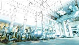 Wireframe-Computer cad-Design von Rohrleitungen Stockfoto