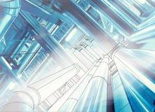 Wireframe-Computer cad-Design von Rohrleitungen an modernem industriellem Lizenzfreie Stockfotografie