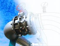 Wireframe-Computer cad-Design von Rohrleitungen und von Ventilen gegen Querstation Lizenzfreies Stockfoto