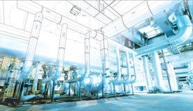 wireframe computercad ontwerppijpleidingen voor moderne industrieel Stock Foto's
