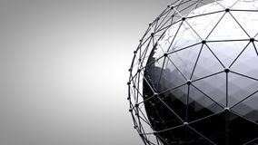 Wireframe connecting sphere. Connection lines around earth globe. The concept of social network, globe connection. Global International connectivity Background Stock Illustration