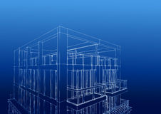 Wireframe of contemporary 3-story houseDownload a Comp  Save t Royalty Free Stock Photo