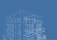 Wireframe of contemporary 3-story houseDownload a Comp  Save t Stock Image