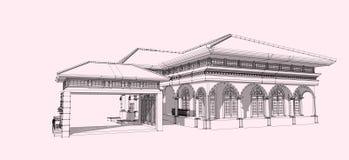 wireframe 3D здания Стоковое Фото