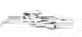 wireframe 3D av byggnad fotografering för bildbyråer
