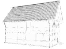 Wireframe 3D of building Royalty Free Stock Photo