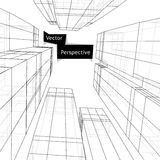 Wireframe of 3d building in perspective. Abstract Stock Images