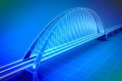 Wireframe 3d framför av en bro Fotografering för Bildbyråer