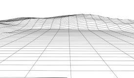 Wireframe 3D krajobrazu g?ry Futurystyczna 3D kartografia Wireframe krajobrazu drut Cyberprzestrzeni siatka ilustracji