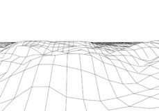 Wireframe 3D landscape mountains. Futuristic 3D cartography. Wireframe landscape wire. Cyberspace grid vector illustration
