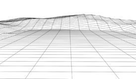 Wireframe 3D landscape mountains. Futuristic 3D cartography. Wireframe landscape wire. Cyberspace grid stock illustration