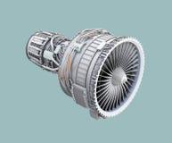 wireframe 3D Lehm überträgt von Turbinen-Kreiselbegläse Strahltriebwerk, das auf grünem Hintergrund lokalisiert wird lizenzfreie abbildung