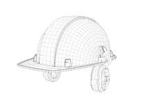 Wireframe of 3d model safety helmet with earphones isolated on the white background. Royalty Free Stock Photos