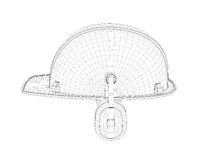 Wireframe of 3d model safety helmet with earphones isolated on the white background. Royalty Free Stock Photography