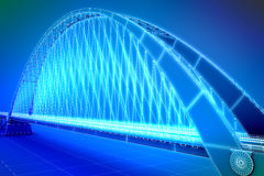 Wireframe 3d  render of a bridge Stock Photo