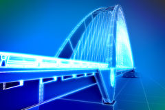 Wireframe 3d  render of a bridge Stock Photography