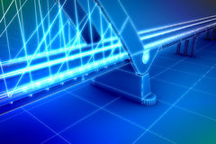 Wireframe 3d  render of a bridge Royalty Free Stock Photo