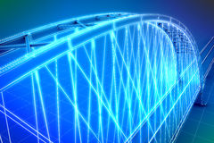 Wireframe 3d  render of a bridge. See my other works in portfolio Royalty Free Stock Photo