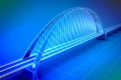 Wireframe 3d  render of a bridge Stock Image