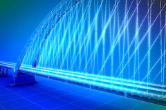 Wireframe 3d  render of a bridge Stock Images