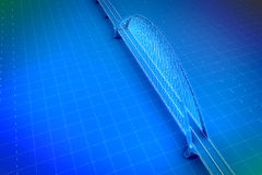 Wireframe 3d  render of a bridge Royalty Free Stock Image