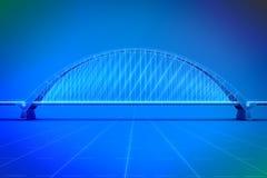 Wireframe 3d  render of a bridge Stock Photos