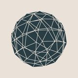 Wireframe 3D Sphere. Wireframe Polygonal Element. 3D Sphere with Lines Royalty Free Stock Photography