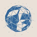 Wireframe 3D Sphere. Wireframe Polygonal Element. 3D Sphere with Lines Stock Image
