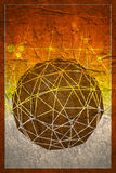 Wireframe 3D Sphere. Wireframe Polygonal Element. 3D Sphere with Lines. Grunge concrete texture Royalty Free Stock Image