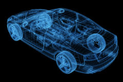 Wireframe d'un modèle du véhicule 3d Images libres de droits