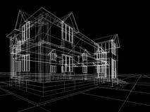 Wireframe da casa de campo Imagens de Stock