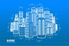Wireframe da construção 3d rendem a cidade ilustração royalty free