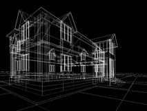 Wireframe de maison Images stock