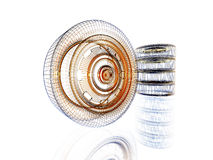 Wireframe de néon de incandescência de uma roda. ilustração do vetor