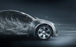 Wireframe del coche del concepto stock de ilustración