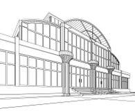 Wireframe del edificio de oficinas Imagenes de archivo