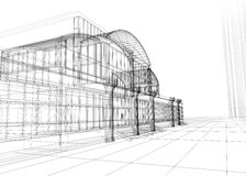 Wireframe del edificio de oficinas stock de ilustración