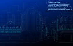 Wireframe del paisaje urbano ilustración del vector